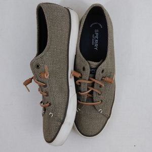 Women's 10m Sperry top Sider tan canvas boat shoes